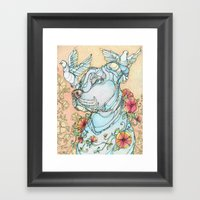 Peaceful Pitbull Framed Art Print