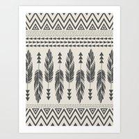Tribal Feathers-Black & … Art Print