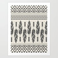 Tribal Feathers-Black & Cream Art Print