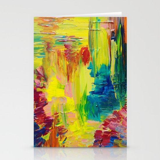 GOING THROUGH THE MOTIONS -  Stunning Saturated Bold Colors Modern Nature Abstract Stationery Card