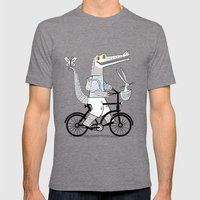 The Crococycle Mens Fitted Tee Tri-Grey SMALL