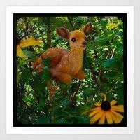 Deer And Black-eyed Susa… Art Print