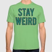 Stay Weird Mens Fitted Tee Grass SMALL