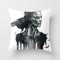 Zombie and Crow Throw Pillow
