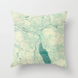 Throw Pillow - Zurich Map Blue Vintage - City Art Posters
