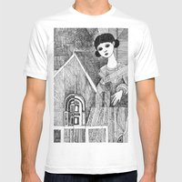 Girl on the top of her house. Mens Fitted Tee White SMALL