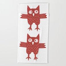 Red Owl Beach Towel