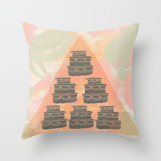Cake and Flowers Throw Pillow