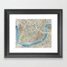 New Orleans City Map Framed Art Print