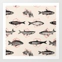 Fishes In Geometrics (Red) Art Print