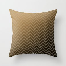 Brass glitter chevron pattern Throw Pillow