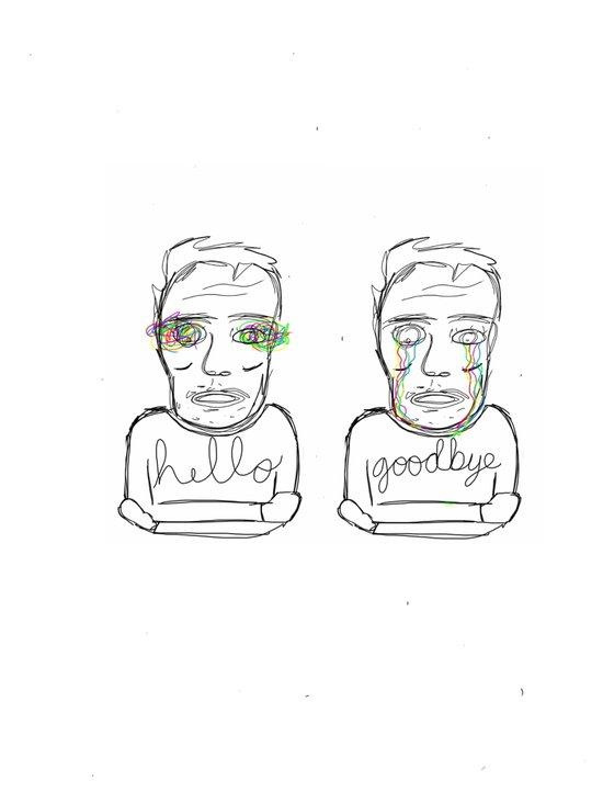 hello + goodbye Art Print