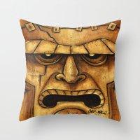 TIKI Frankenstein  Throw Pillow