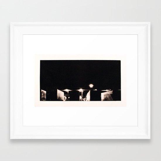 """Semi Truck Stop, PA"" Framed Art Print"