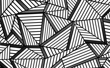 Art Print - Ab Lines 2 Black and White - Project M