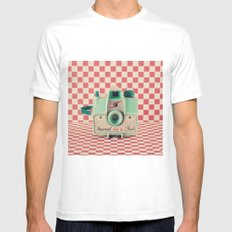 Mint Retro Camera on Red Chequered Background  Mens Fitted Tee SMALL White
