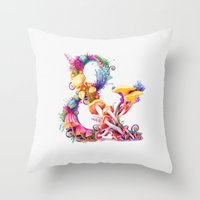Mushrooms & Throw Pillow
