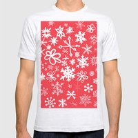 Snowflakes Mens Fitted Tee Ash Grey SMALL