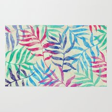 Watercolor Tropical Palm Leaves Rug
