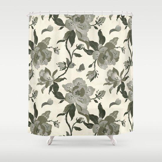 Black Magnolia Pattern Shower Curtain