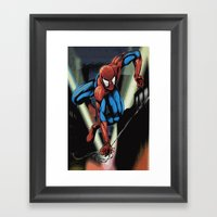 Gritty Spidey Swing Framed Art Print