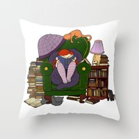 A quiet place, with a book to read Throw Pillow