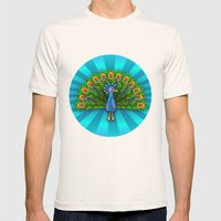 Peacock In Blue Rays Mens Fitted Tee Natural SMALL