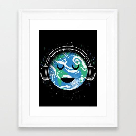 The whole planet loves music Framed Art Print