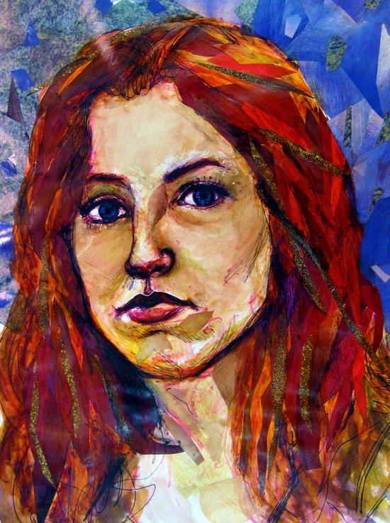 Self Portrait, magazine collage Art Print