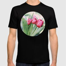 Twilight Tulips SMALL Black Mens Fitted Tee