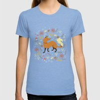 Cute as a Fox Womens Fitted Tee Tri-Blue SMALL