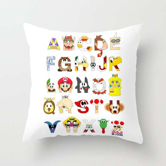 Super Mario Alphabet Throw Pillow