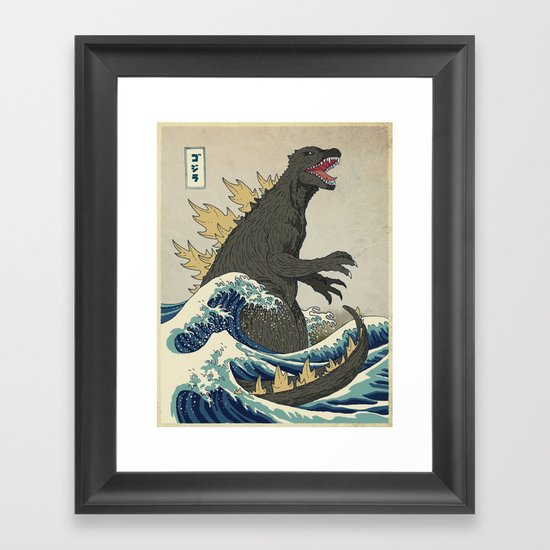 The Great Godzilla Off Kanagawa Framed Art Print By