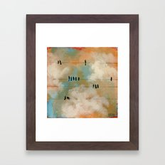 Birds on a Wire (color) Framed Art Print