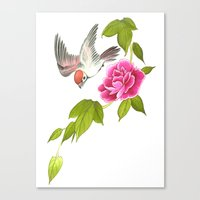 sparrow and peony Canvas Print