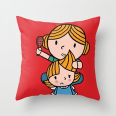 mom & daughter Throw Pillow