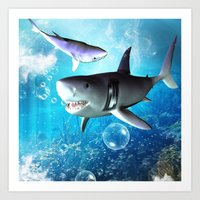shark Art Prints featuring Shark by nicky2342
