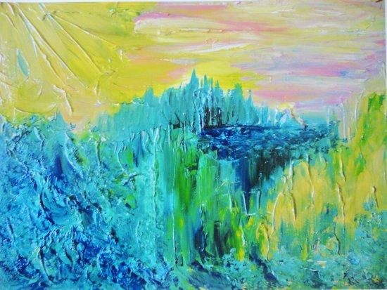 DREAM-SCAPE - Amazing Idyllic Nature Theme Pastel Dream Landscape Abstract Acrylic Painting Art Print