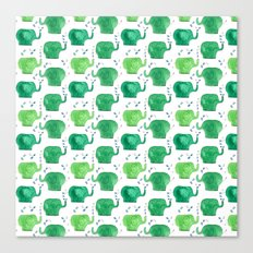 thousands of little green elephants Canvas Print
