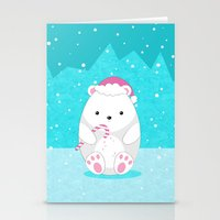 polar bear Stationery Cards featuring Polar bear by eDrawings38