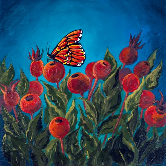 Butterfly in Rose Hips Art Print