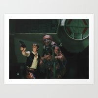 Hokey religions and ancient weapons are no match for a good blaster at your side Art Print
