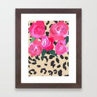 Roses And Leopard Print Framed Art Print