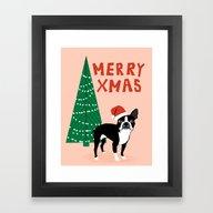 Boston Terrier Xmas - Ch… Framed Art Print