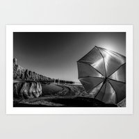 Salton Sea and an Umbrella Art Print