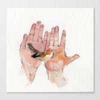 Canvas Print featuring Bird in Hands by Becca Kallem
