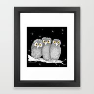 Framed Art Print featuring Zentangle Owl Friends At… by Vermont Greetings
