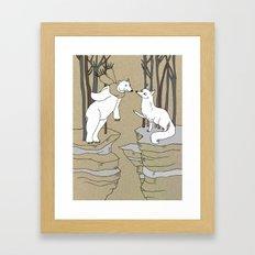 Arctic Fox And Polar Bea… Framed Art Print
