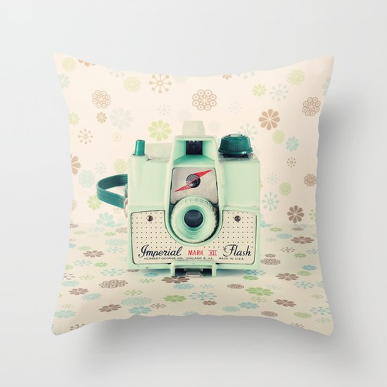 Mint Retro Film Camera on Beige - Cream Pattern Background  Throw Pillow