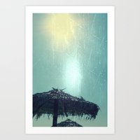 Umbrella On The Beach Art Print